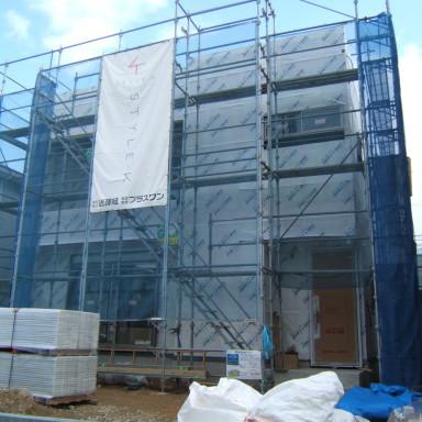 LTみよし分譲住宅の施工状況(外部・防水関係施工)